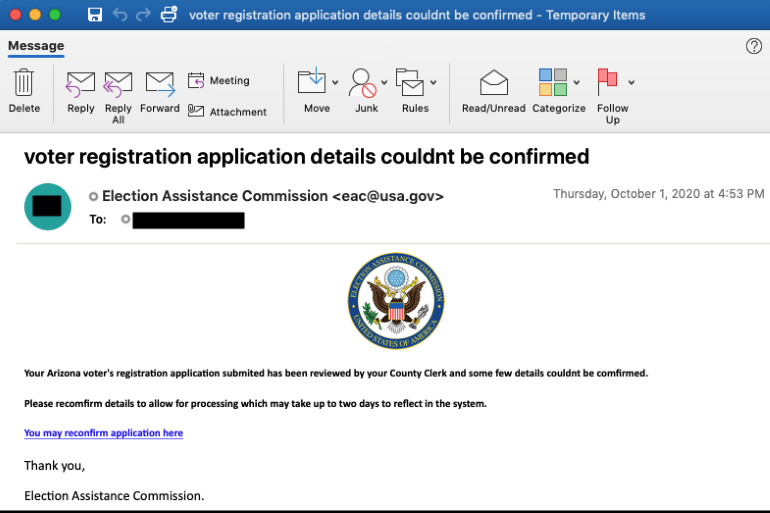 I gruppi di phishing raccolgono dati degli utenti, e-mail e password bancarie tramite falsi moduli di registrazione elettorali