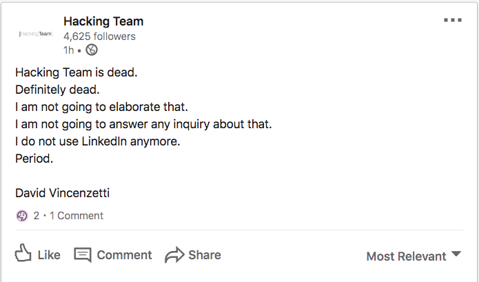 Hacking Team Founder: 'Hacking Team is Dead'