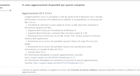 Promemoria: OS X 10.8.4 disponibile per il download, test