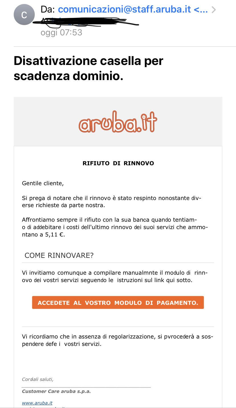 Dalla Germania phishing contro Aruba via mail