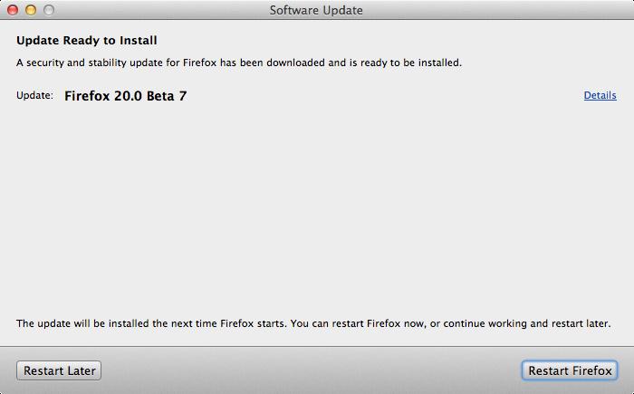 Firefox 20.0 Beta 7 per Linux, bug fix