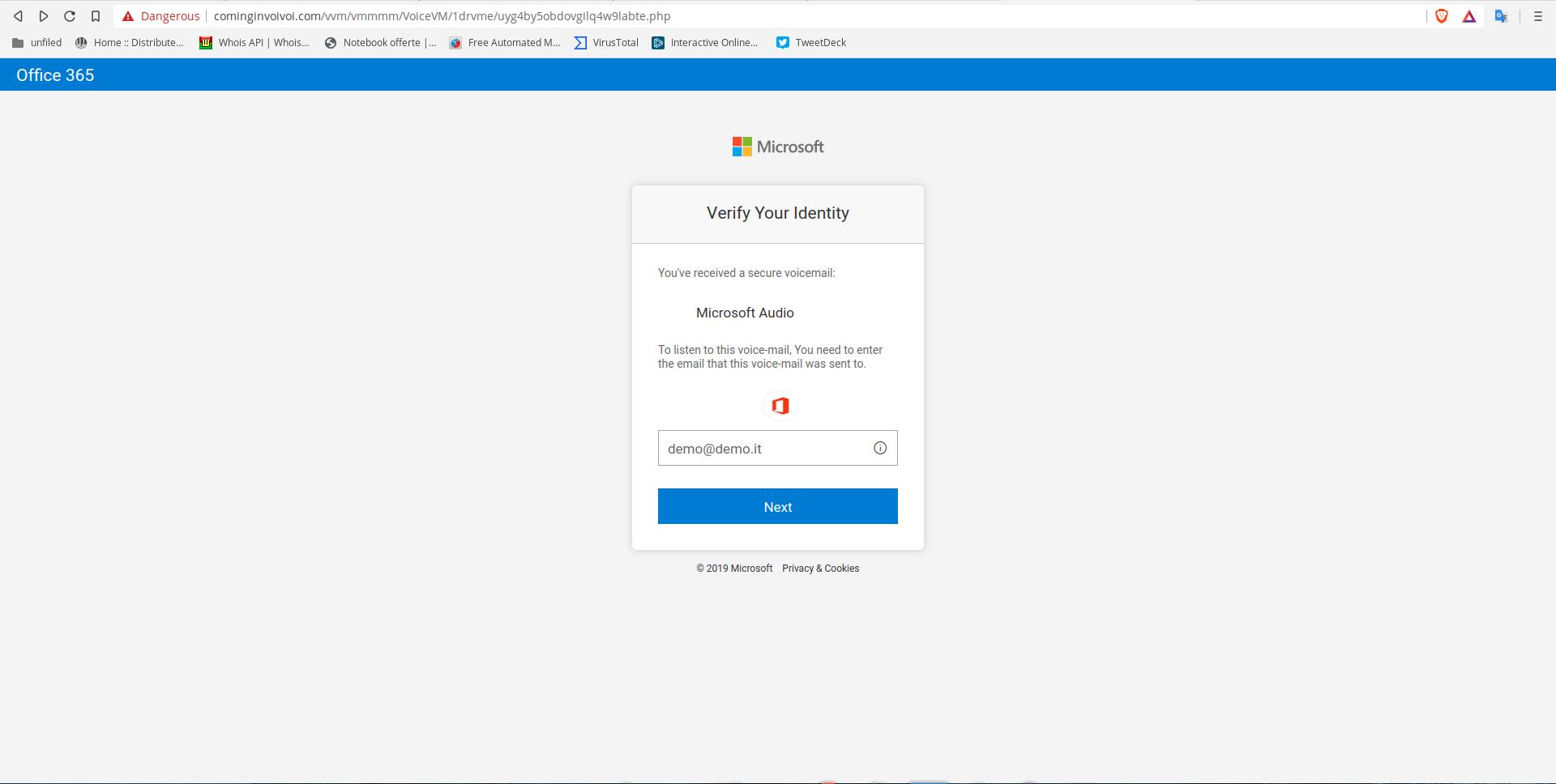 Phishing ai danni di Microsoft e accesso Live mail