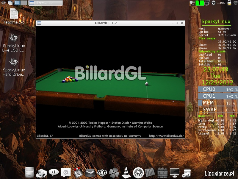 SparkyLinux GameOver 2.1, caratteristiche di Enlightenment e LXDE